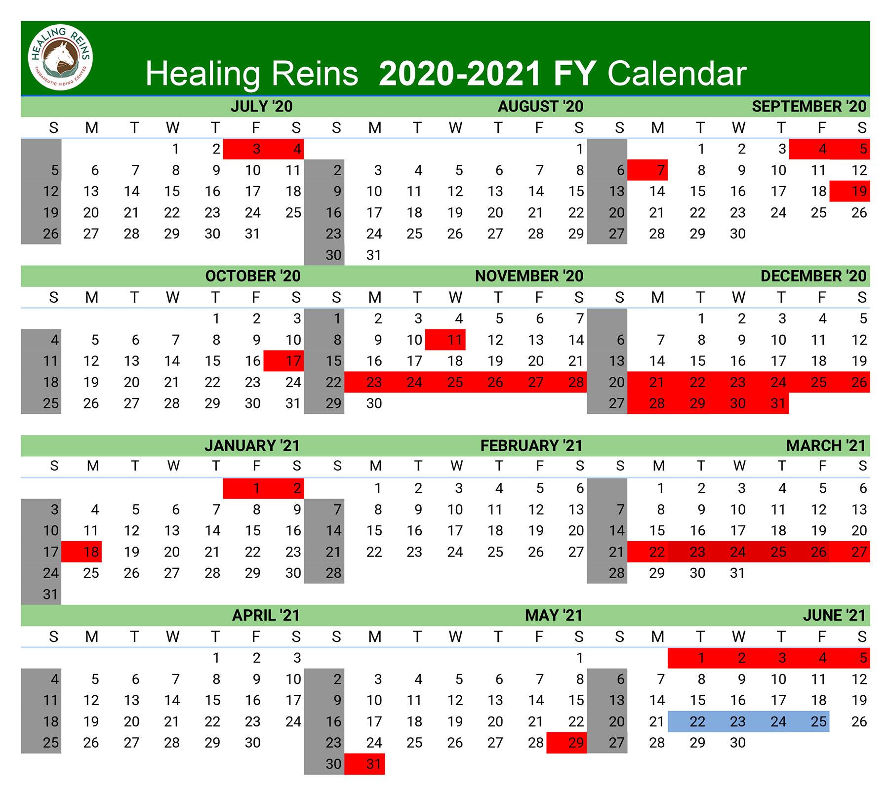 2020-2021 annual calendar for healing reins
